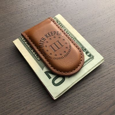 3 PERCENTER OATH KEEPER AGAINST ALL ENEMY MAGNETIC BROWN LEATHER MONEY CLIP NEW](Oath Keeper)