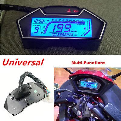 LCD Motorcycle Speedometer Odometer Tachometer RPM Speed Fuel Gauge Kph Mph Set