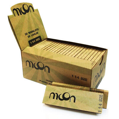NEW MOON 50 booklets 1 1/4 Unbleached Cigarette Rolling Papers 2000 leaves
