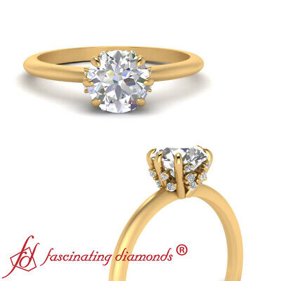 1 Carat Round Cut Women's Engagement Ring With Hidden Diamond In 18K Yellow Gold