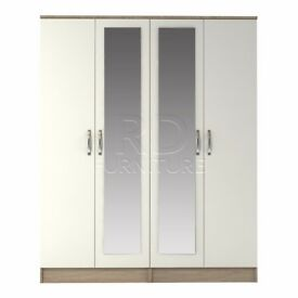 classy 4 door double mirrored wardrobe oak and white