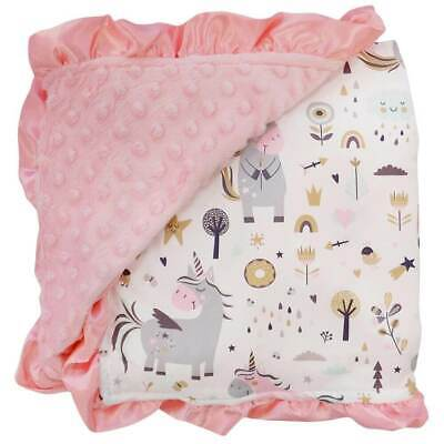 Playful Unicorn Pink / Minky Dot Blanket / Baby Toddler Infant Cute Soft Crib Pink Minky Blanket
