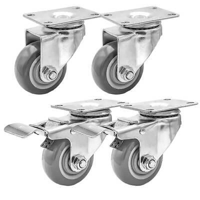 Lot Of 4 3 Caster Wheels Swivel Plate Casters On Grey Pu Wheels Combo