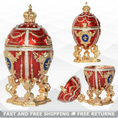 Faberge Egg Shaped Vintage Jewelry Trinket Box Holder For Ring Bejeweled Crystal
