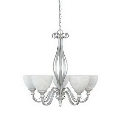 Matte Pewter with Alabaster Glass 5 Light Chandelier Alabaster Pewter Chandelier