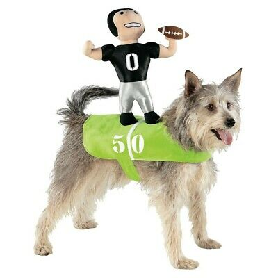 Football Player Dog Costume Halloween Pet Costume Green Number 50 S/M #1382