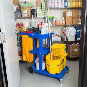 Janitor Cart with 3 Shelves and Vinyl Bag   - FREE SHIPPING