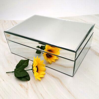Meetart Silver Glass Mirrored Jewelry Box Simple Classic Storage Organizer