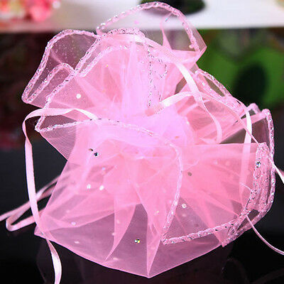 20Pcs Pink Organza Sheer Wedding Party Favors Candy Pouch Bags Decoration Gifts ()