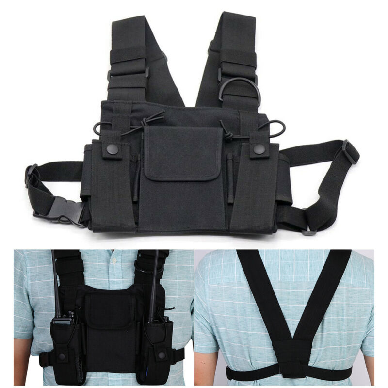 Radio Chest Harness 3 Pocket Chest Front Pack Pouch Holster Shoulder Vest Rig
