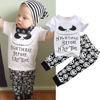 2Pcs Monster Toddler Newborn Baby Boys T Shirt Tops Pants Outfits Set Clothes