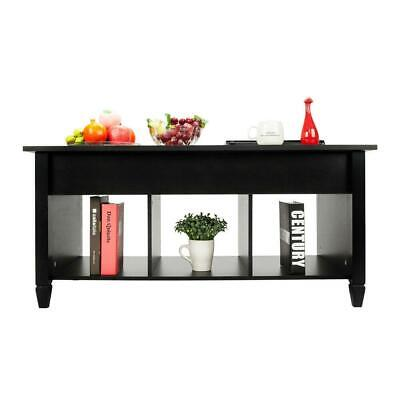 Lift-up Top Coffee Table w/Hidden Storage Compartment & Shelf Black 7