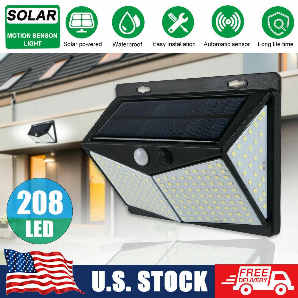 208 LED Yard Solar Wall Light PIR Motion Sensor Outdoor Garden Lamp Waterproof Home & Garden