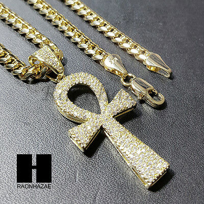 14k Ankh Cross Pendant - Iced Out Simulated Diamond 14K Gold PT Ankh Cross Pendant w 24