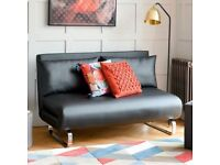 Dwell - Stylus faux leather sofa bed/futon black - Rrp £649