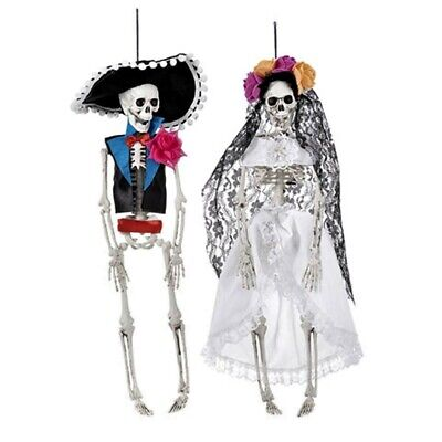 Halloween Day of The Dead Hanging Skeleton Bride and Groom Set 16