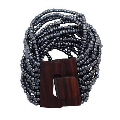 - Pewter Bali Bracelet Glass Beads Wood Buckle Elastic Costume Jewelry