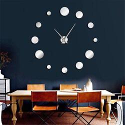 ALEKO Frameless Modern Reflective Dot DIY Wall Clock Silver Large