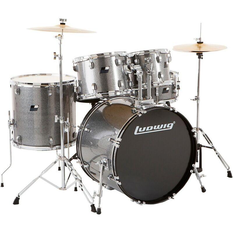 Ludwig Backbeat Complete 5-Piece Drum Set w/Hardware, Cymbals Metallic Silver