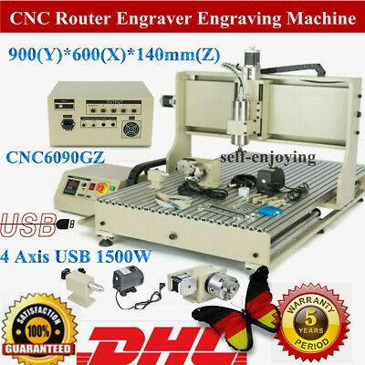 Usb 6090z 4 Axis Cnc Router Engraver 1.5kw Vfd Metal Milling Engraving Machine