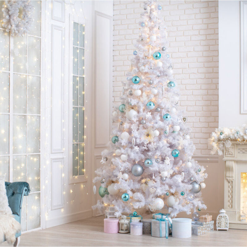 6FT White Flocked Christmas Tree Xmas Pine Holiday Metal Stand Artificial US
