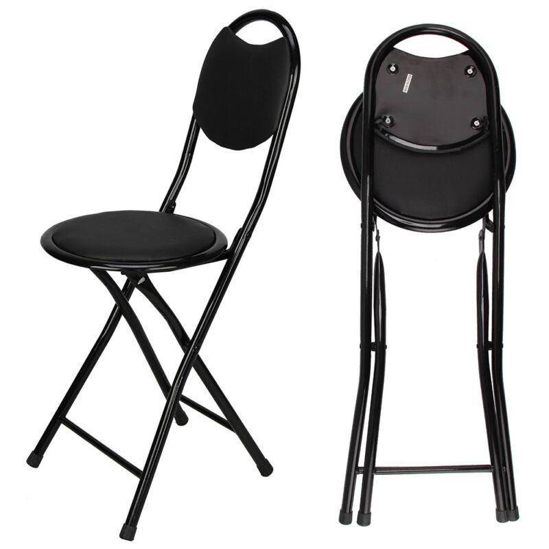 Black Padded Folding High Chair Breakfast Kitchen Bar Stool Seat UK