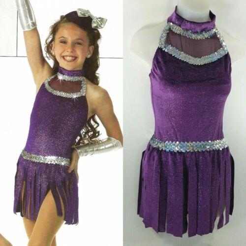 Fabulous Dance Costume Leotard & Fringed Skirt Plum Glitter Velvet 6x7 CM CL AM