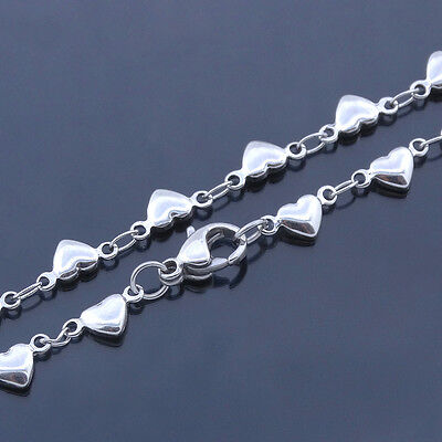 Stainless Steel Anklets Love Heart Charm Ankle Bracelet 10 Inch SSA006-10