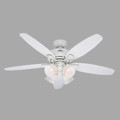 "Landry 52"" Indoor White Ceiling Fan with Light Kit 5-White Blades __ Brand New"