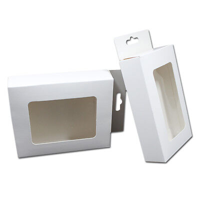 White Paper Party Gift Box With Window Toys Craft Hang Hole Boxes Cardboard Box