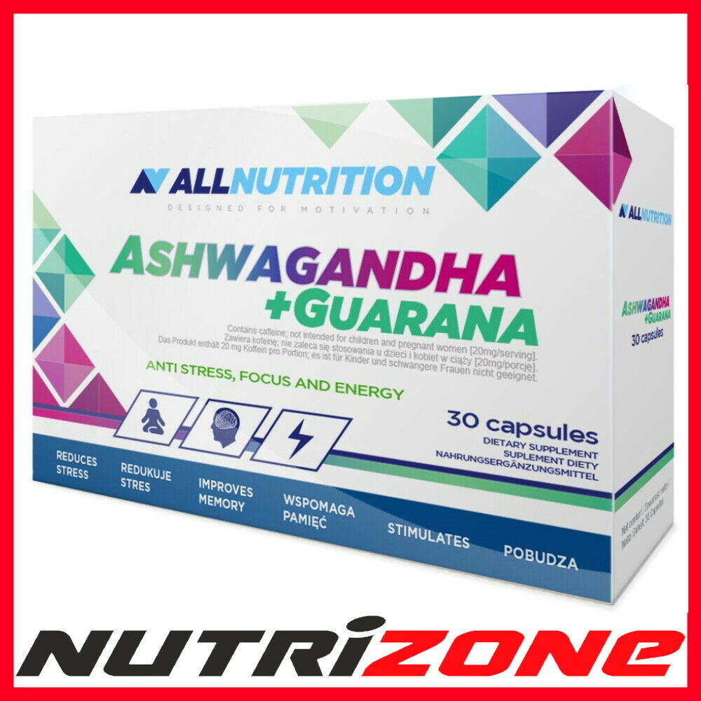 ASHWAGANDHA + GUARANA Indian Ginseng Antioxidant Nervous Immune System Support