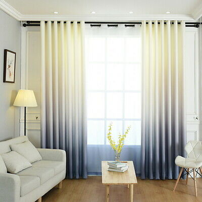 Thermal Blackout Eyelet Ring Top Curtains Gradient Texture Shade Curtains
