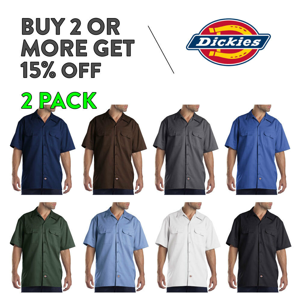 2 PACK DICKIES 1574 MENS WORK SHIRT BUTTON UP WORK UNIFORM S