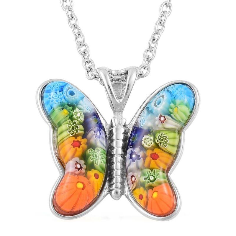 "Murano Millefiori Glass Steel Butterfly Pendant Chain Necklace Gift 24"" Steel"
