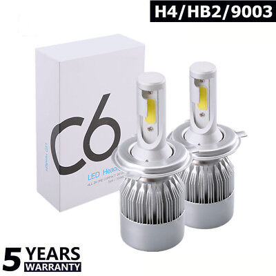 1pair COB H4 C6 10800LM 120W LED Car Headlight Kit Hi/Lo Turbo Light Bulbs 6000K