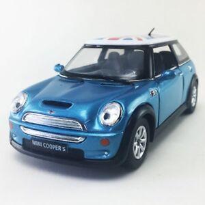 New 5 Kinsmart Mini Cooper S British Flag Cast Model Toy 1 28 Blue