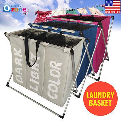 3 Section Folding Laundry Sorter Hamper Organizer Washing Clothes Basket (Sorter Folding)