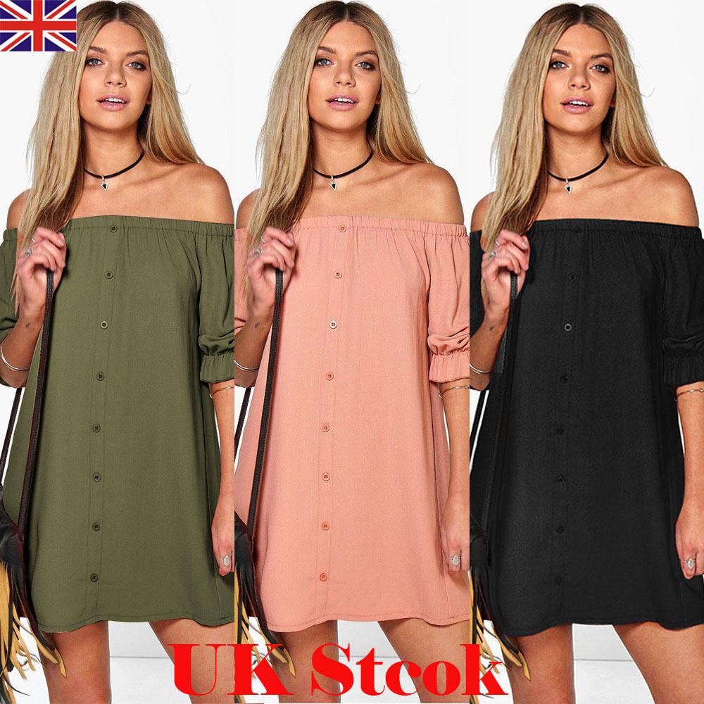 NEW WOMENS LADIES OFF THE SHOULDER BARDOT BUTTON EVENING SHIRT DRESS TOP UK 6-18