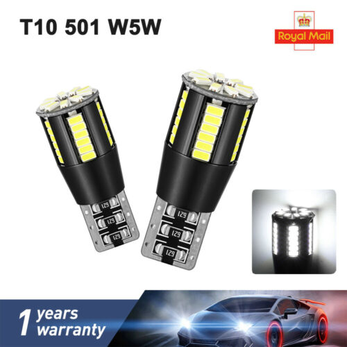 Car Cob Led Bulbs Error Free Canbus Cool White W5W 501 Side Light Easy Replace