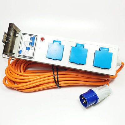 Camping Tent Mobile Mains Electric Power Supply Hook Up Unit with RCD  20m Lead