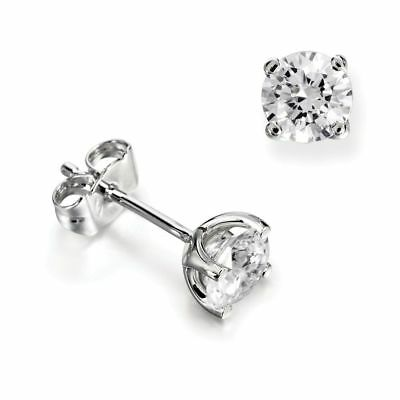 2ct (6.5mm) 9K White Gold VS/FG GENUINE Round Moissanite Diamond Stud Earrings