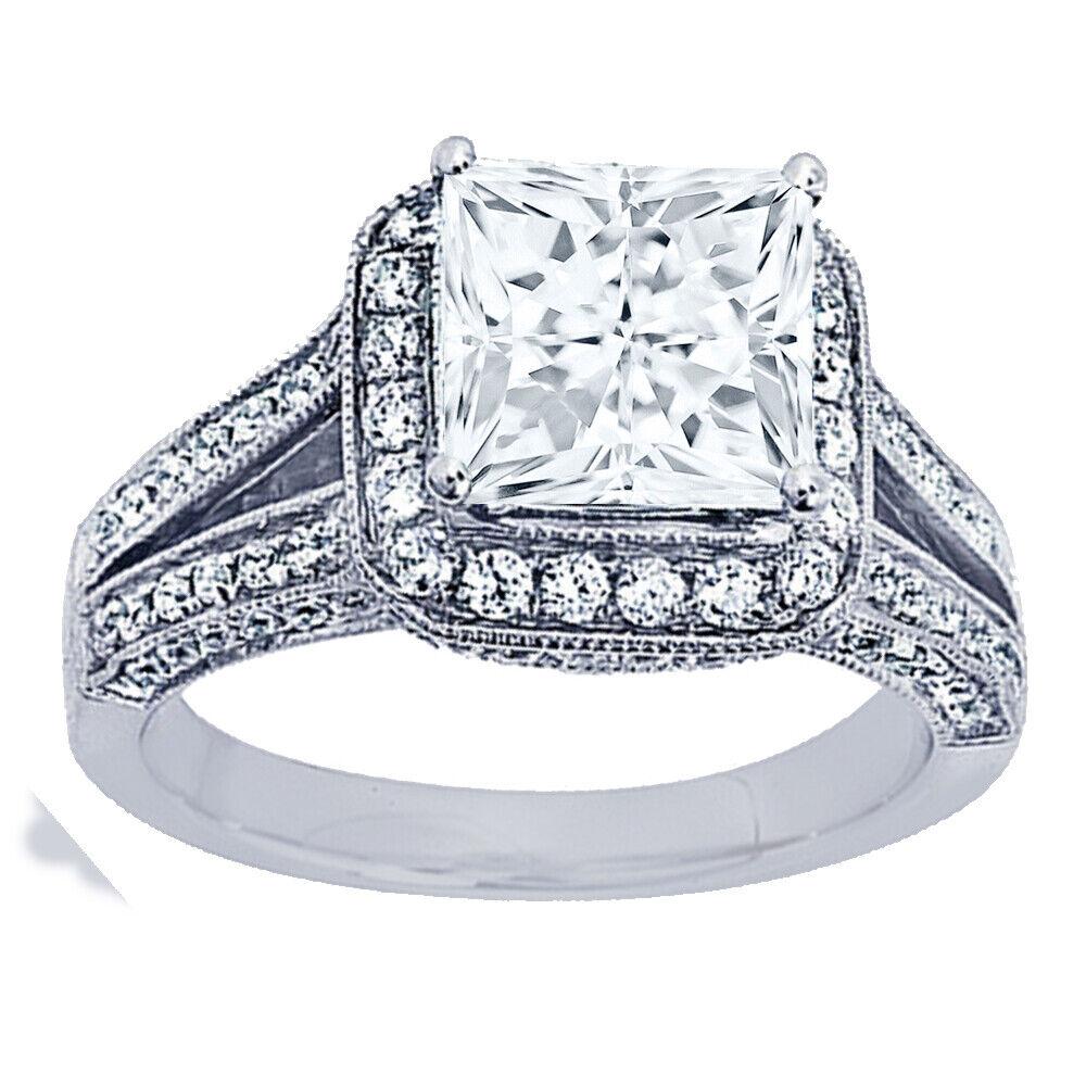GIA Certified Diamond Engagement Halo Ring 3.17 CTW Princess Cut 18k White Gold