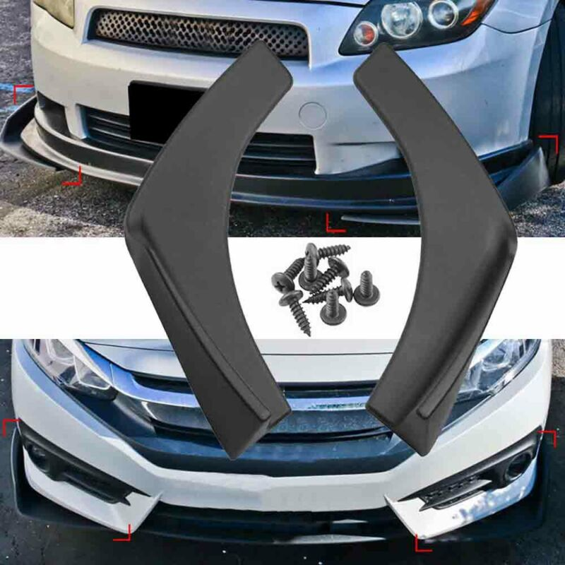 1 Pair Black Universal Fit Front Rear Bumper Lip Splitters Winglets Canards ABS