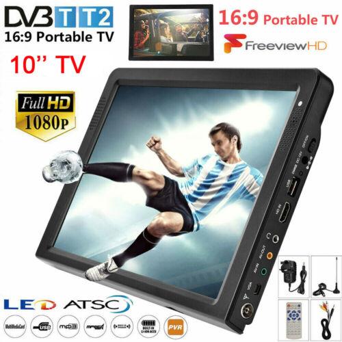 10inch ATSC DVB-T/T2 Portable Digital TV LED 1080P HD USB Ca