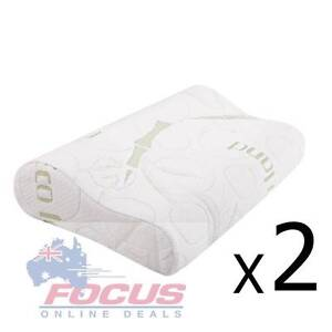 Set of 2 Bamboo Fabric Cover Contour Memory Foam Pillow 50 x 30cm Melbourne CBD Melbourne City Preview