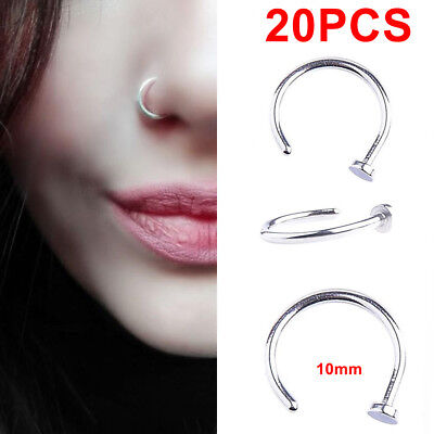 Lots 20PCS Punk Clip On Fake Nose Open Hoop Ring Lip Earring Navel Ring Piercing for sale  Humble