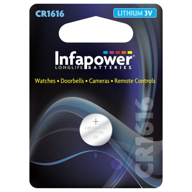 INFAPOWER CR1616 LITHIUM COIN CELL BATTERY / 3V (L907)