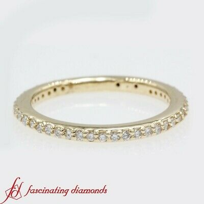 1/2 Carat Round Cut Diamond Thin Eternity Anniversary Band In 14K Yellow Gold