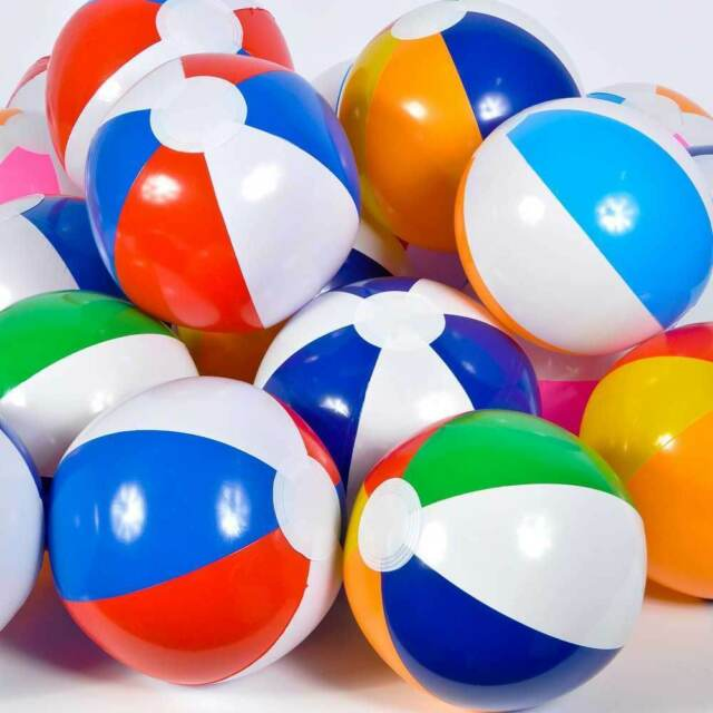 "Pool Water With Beach Ball 12 assortet beach balls 12"" pool party beachball inflatable kids"