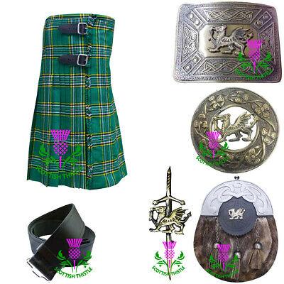 St Kilt Kostüm 6pcs Irisch Grün Tartan Acryl Wolle Walisischer Drache - Irische Mädchen Kostüm